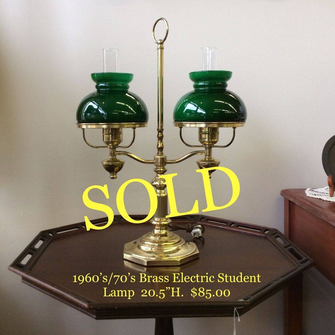 """C. 1960's/70's Brass Electric Student Lamp  20-5/8""""Hgt.   $85.00"""