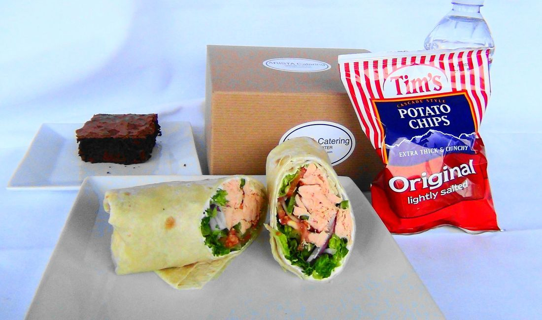 Our tuna box lunch wrap sandwich is terrific