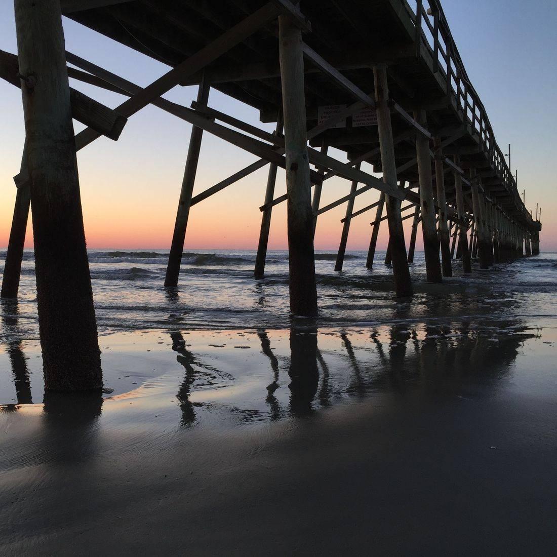 Sunrise, Beach, Pier, Ocean, Waves, Sky, Sunset Beach, North Carolina