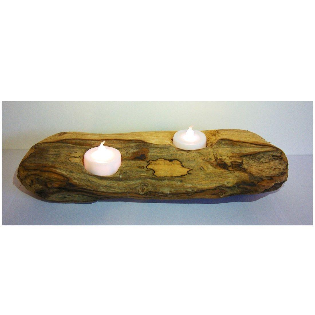 Driftwood log candle tea light holder 6