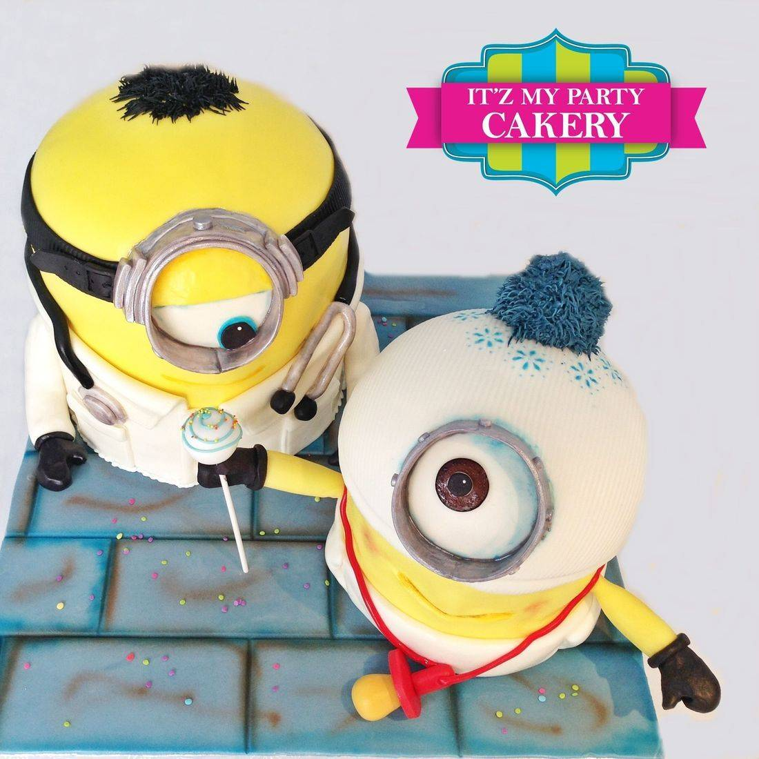 Dr. & Baby Minion Carved Dimensional Cake Milwaukee