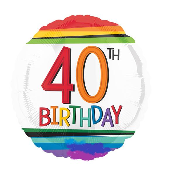 Birthday Age 40 Holographic Balloon