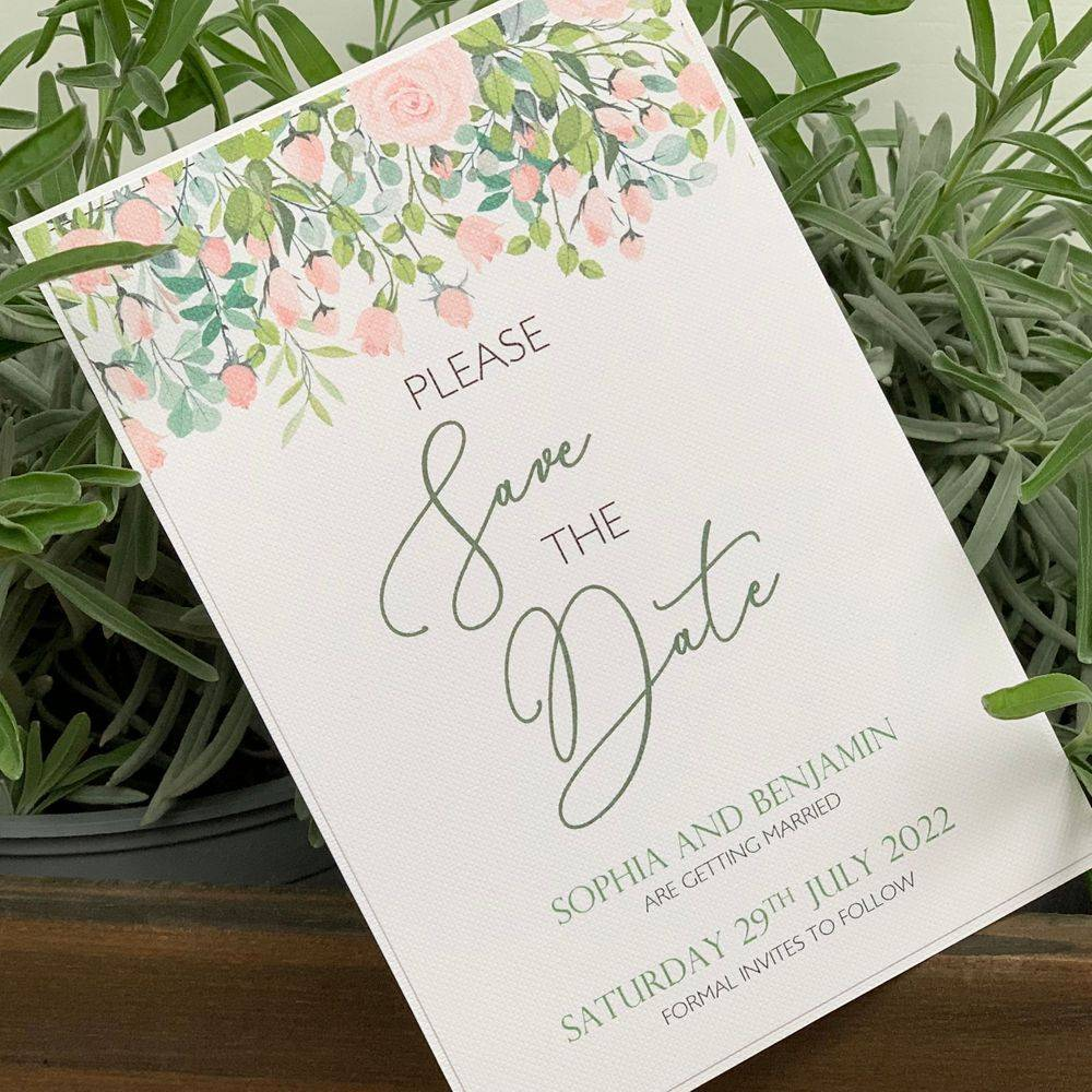 Save the date card with roses, pink and green