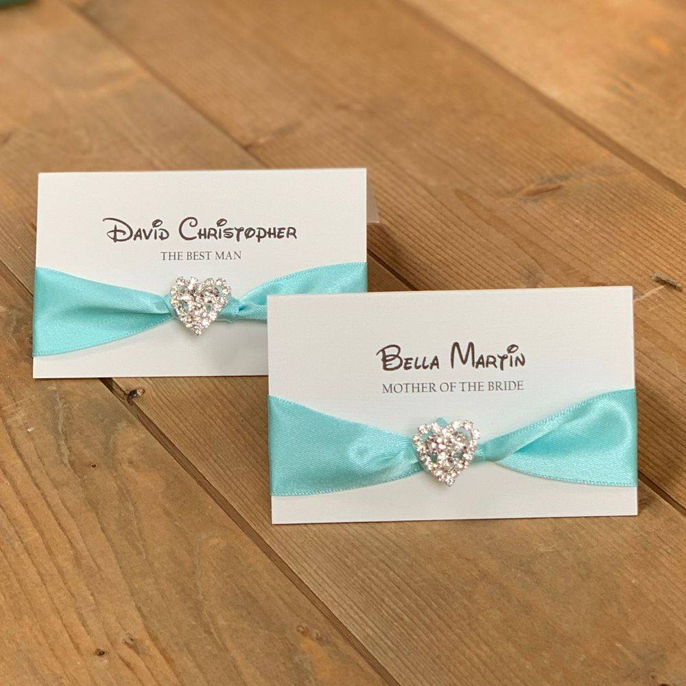 Disney wedding Place name - Ivory and turquoise with eros heart crystal cluster