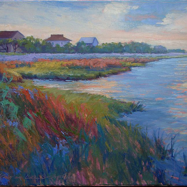 KCrenshaw - Houses on the Sound 18x24 oil on linen