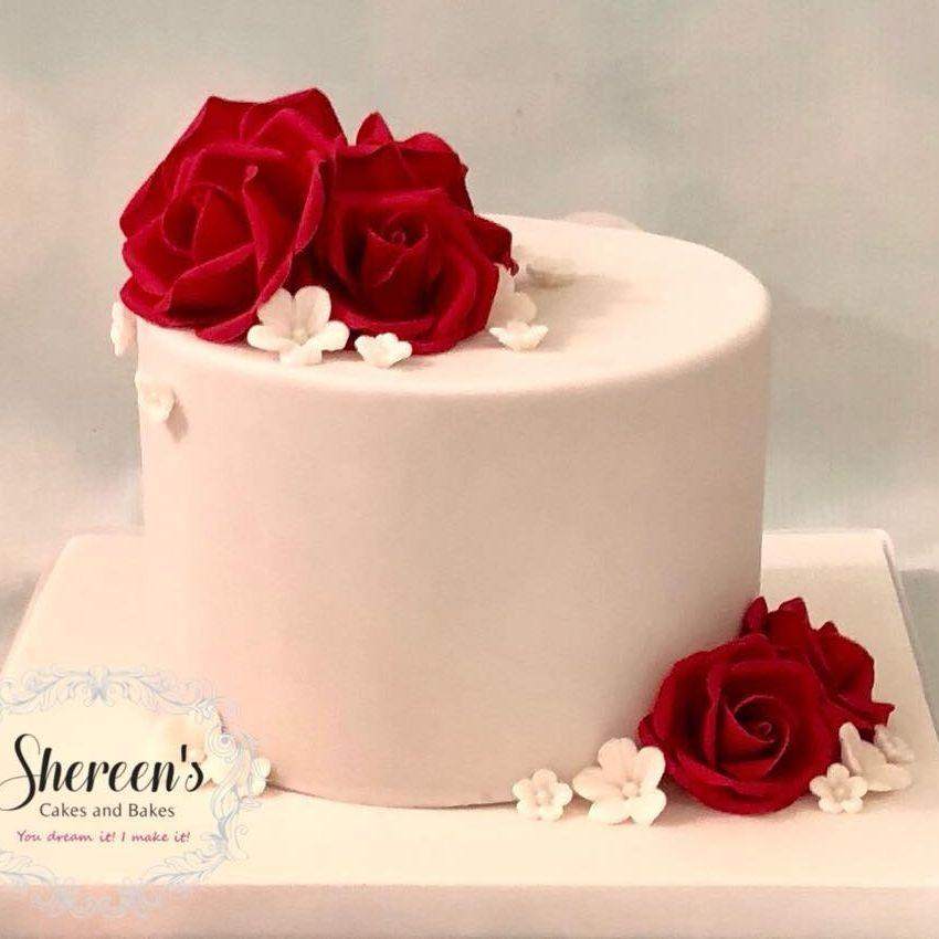 Ruby Birthday Anniversary Cake Roses