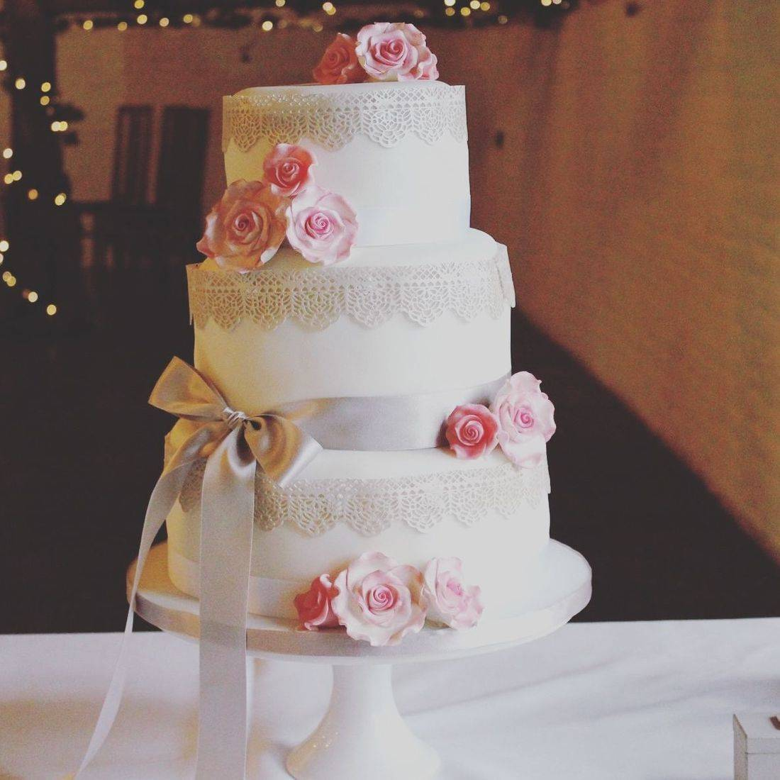 Vintage Roses and Lace Stacked Wedding Cake Fabu-Lous Cakes