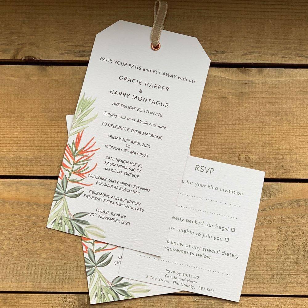Wedding invitation luggage label - tropical wedding invite