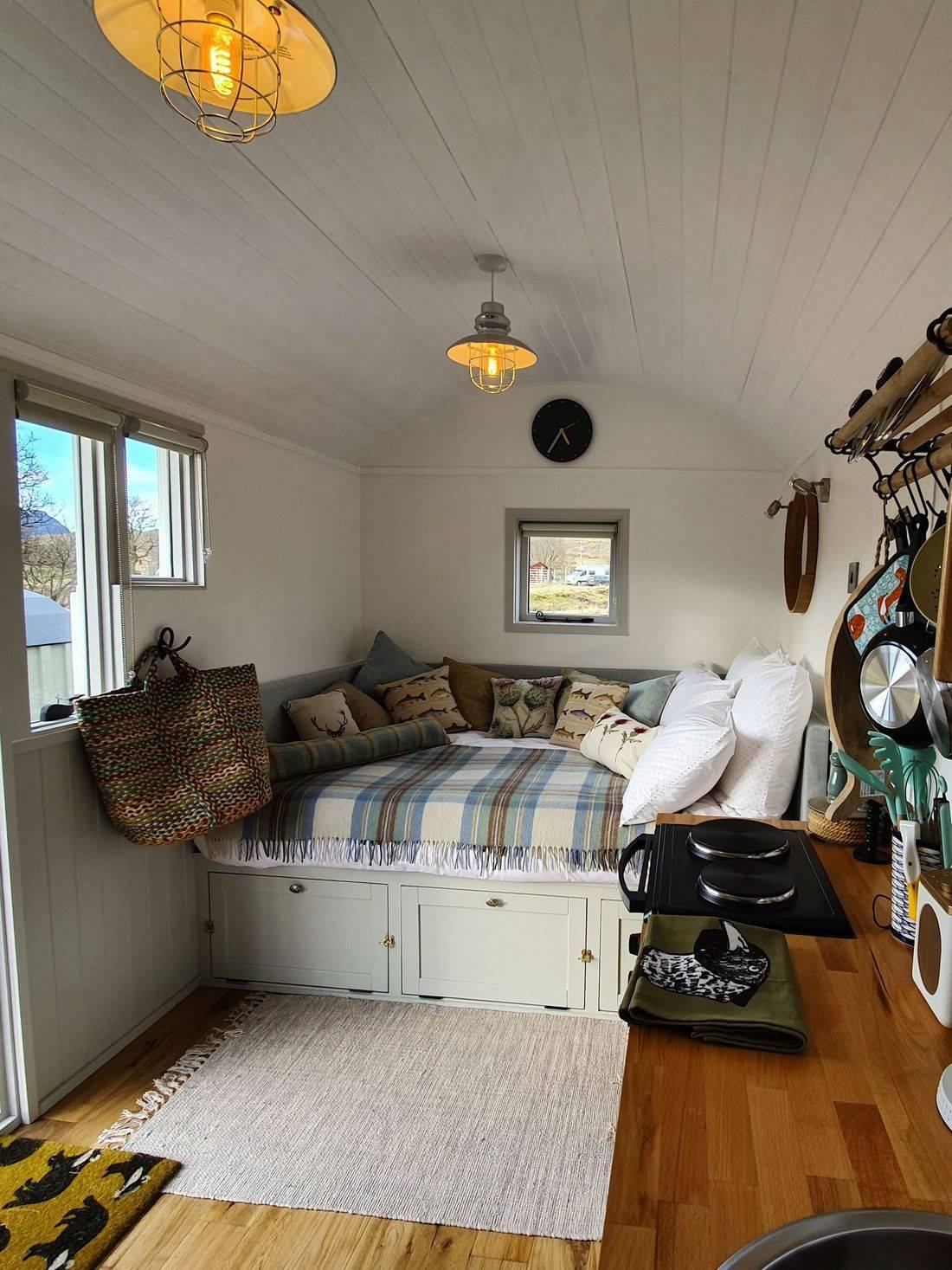 Luxurious comfort inside well equipped Shepherds Hut