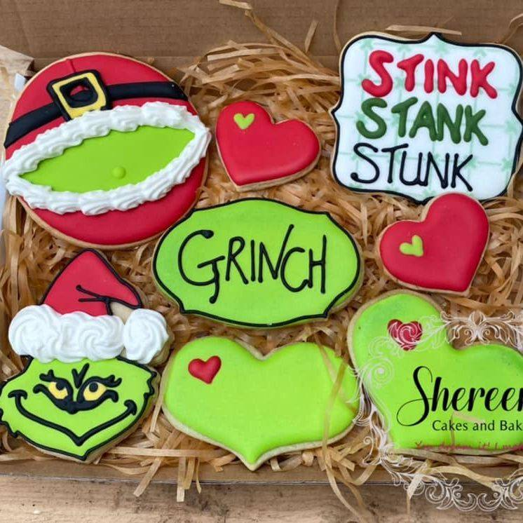 iced cookie biscuit Christmas Grinch heart stink stank stunk
