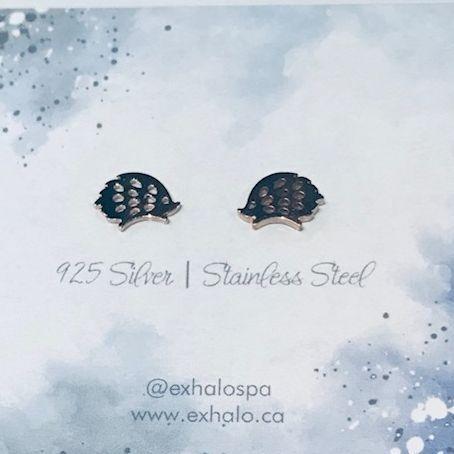 silver earrings, hedgehog earrings