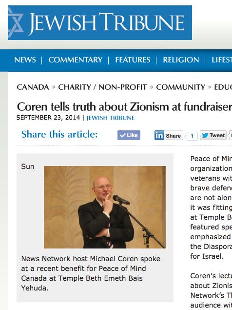 Article about Michael Coren's Lecture