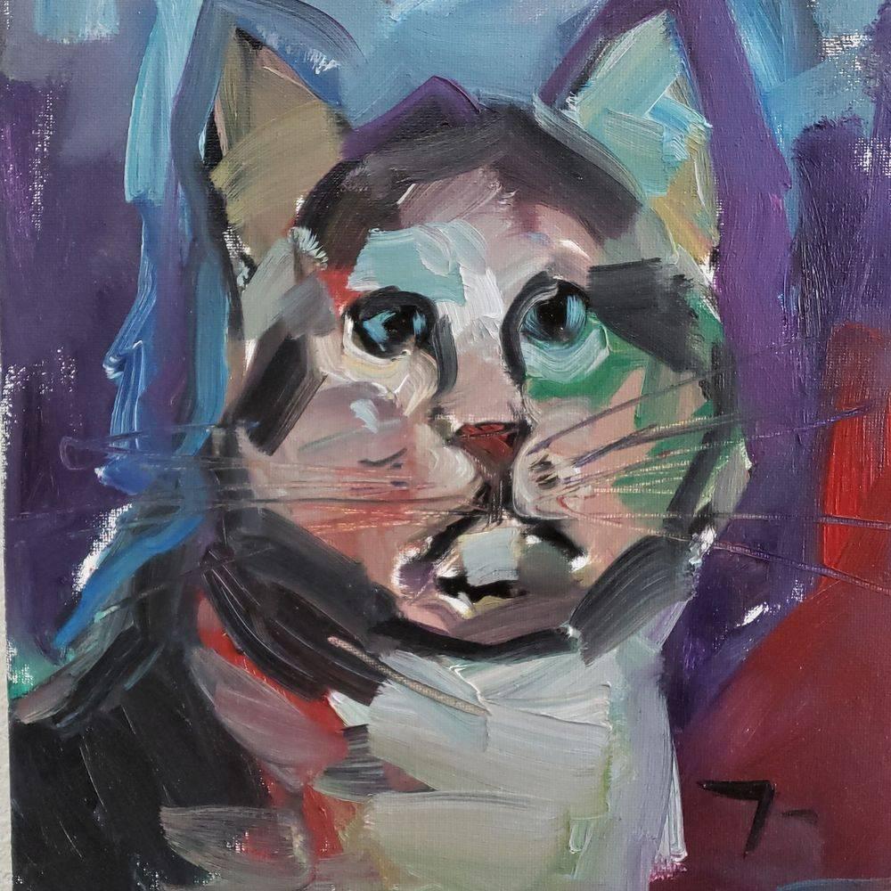 cat portrait oil painting