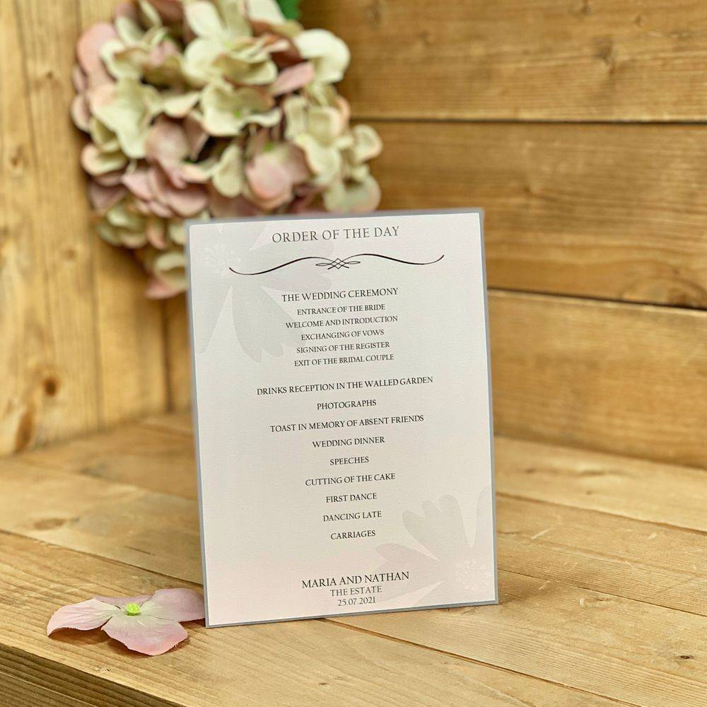 Grey and blush pink order of the day cards