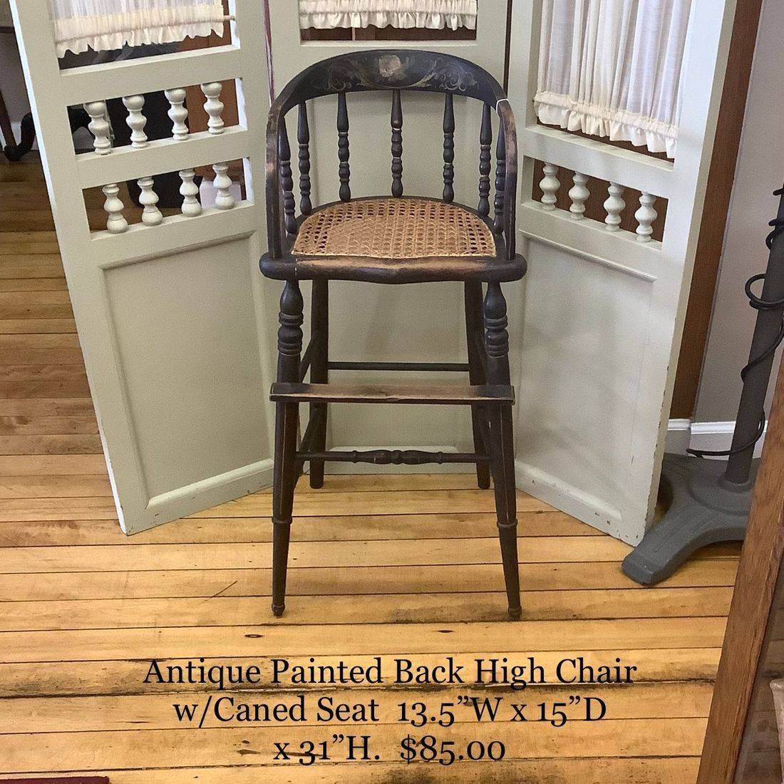 Antique Painted Back High Chair w/Caned Seat   $85.00
