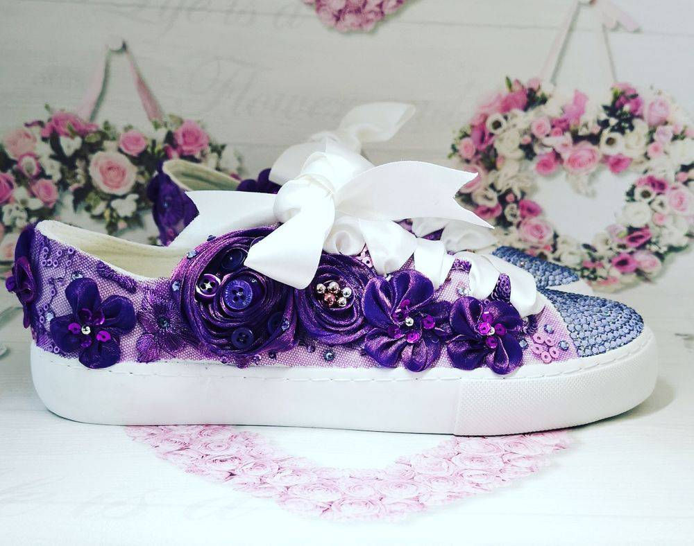 crystal trainers and customised wedding flat shoes