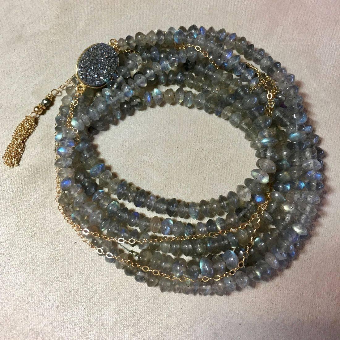 gemstone wrap bracelets, faceted natural gemstones,14k gold fill tassel,clasp,