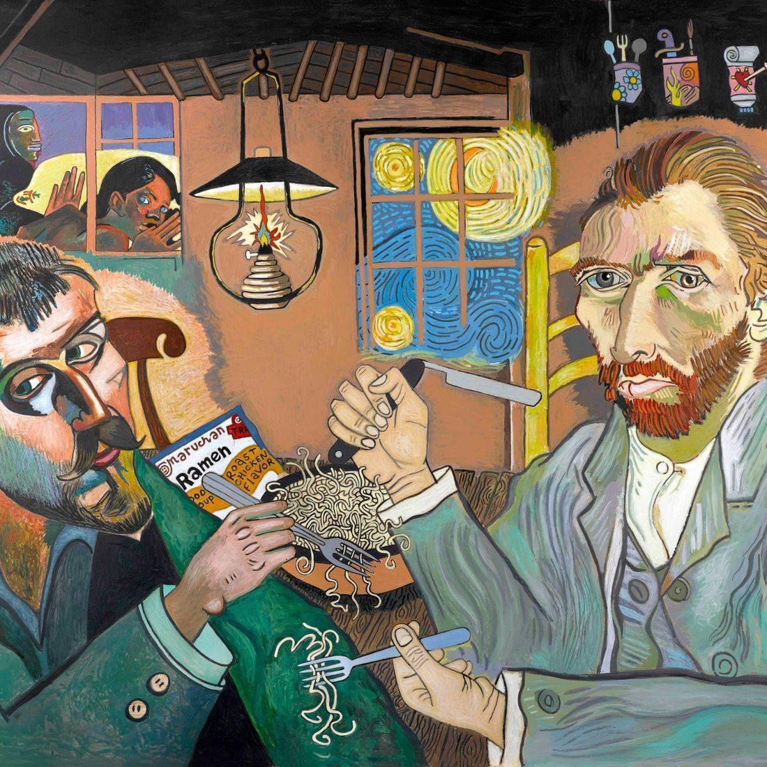 Vincent Van Gogh, Paul Gauguin, Potato Eaters, Ramen Soup, Starry Night, Death Watches Over, Starving Artists
