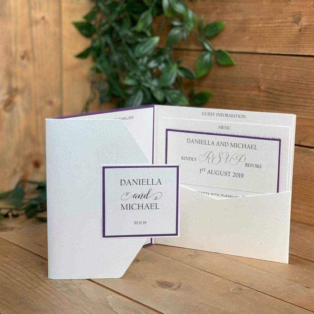 Ivory and purple poccket wedding invitation