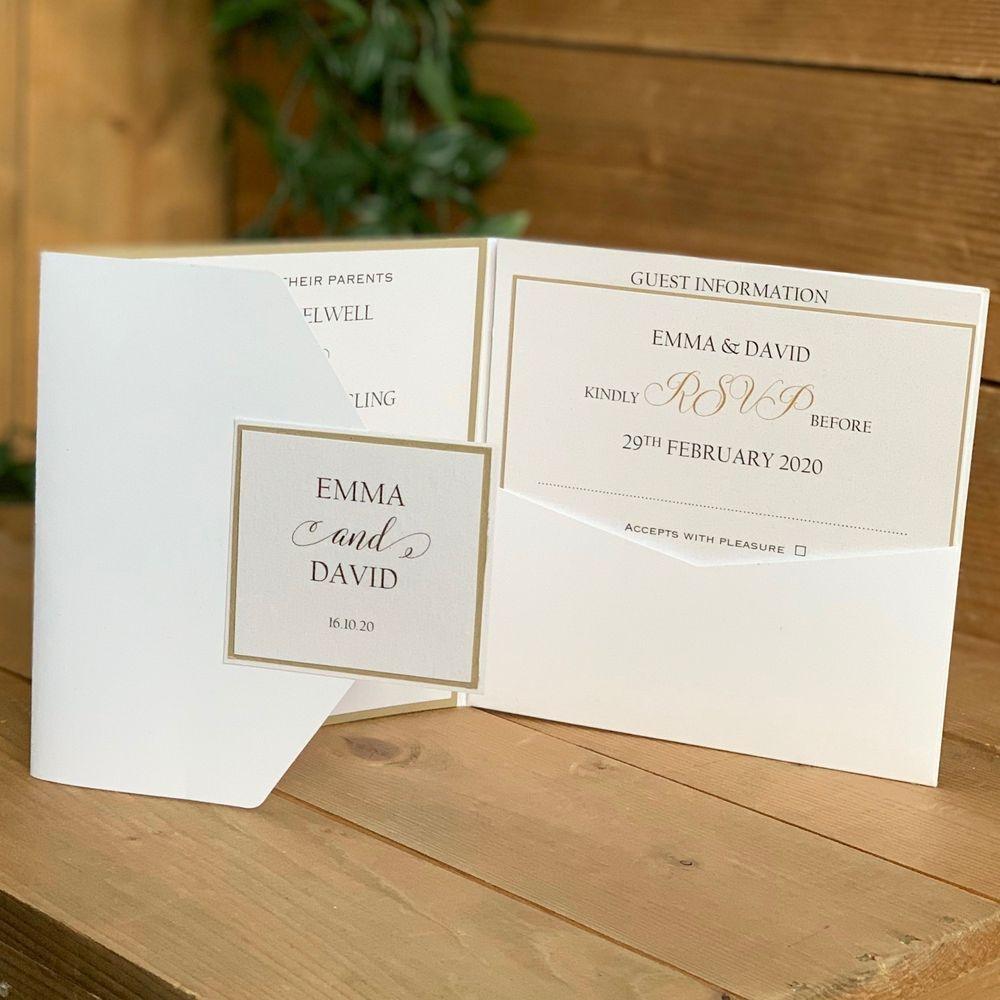 Pocket Invitation white and gold