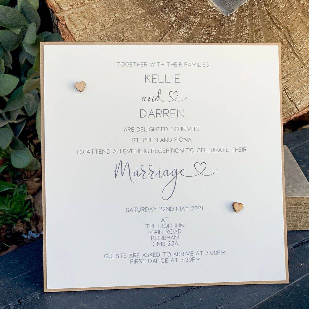 Rustic Evening Invitation with wooden hearts