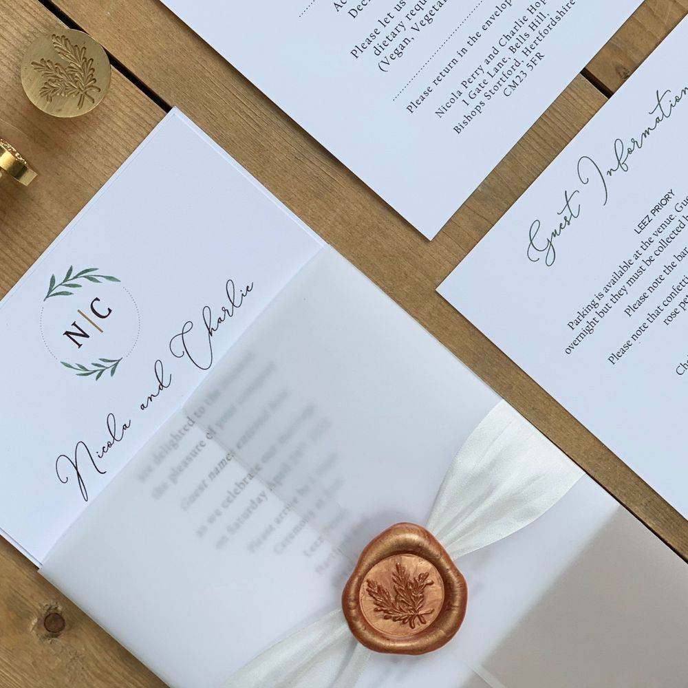 Ivory Roses and Sage Green, with Eucalyptus wedding invitation with wax seal