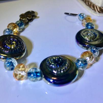 Iridescent glass spun bead bracelet, women's  glass bracelet, unique glass bracelets