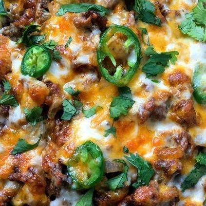 Mexican lasagna is delicious.