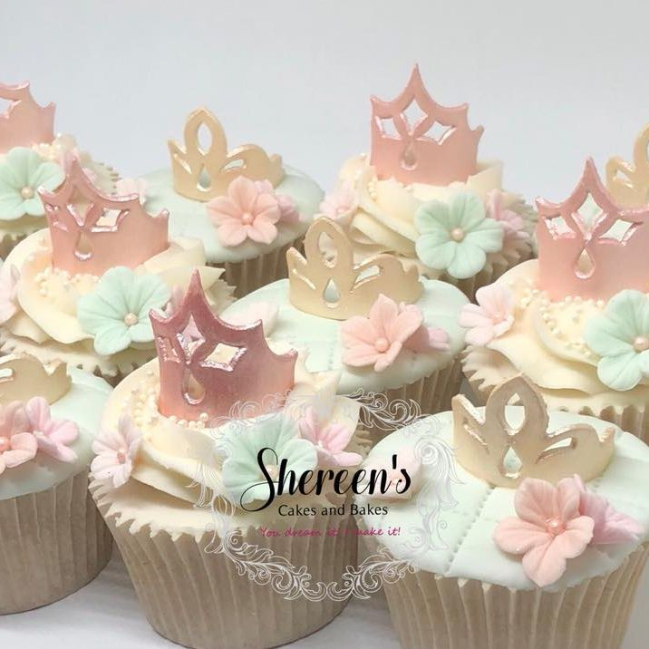 Crown Princess Tiara Cupcake Girl Flowers Mint Coral Gold Rose