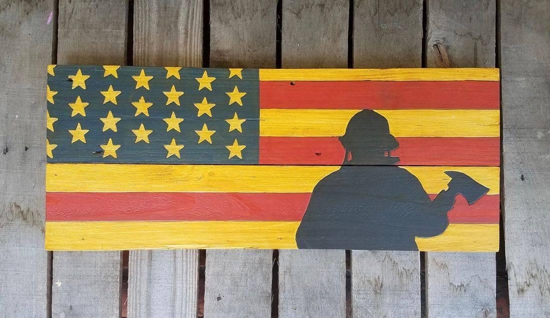 American Flag Handmade Reclaimed Pallet Wood Firemen First Responders