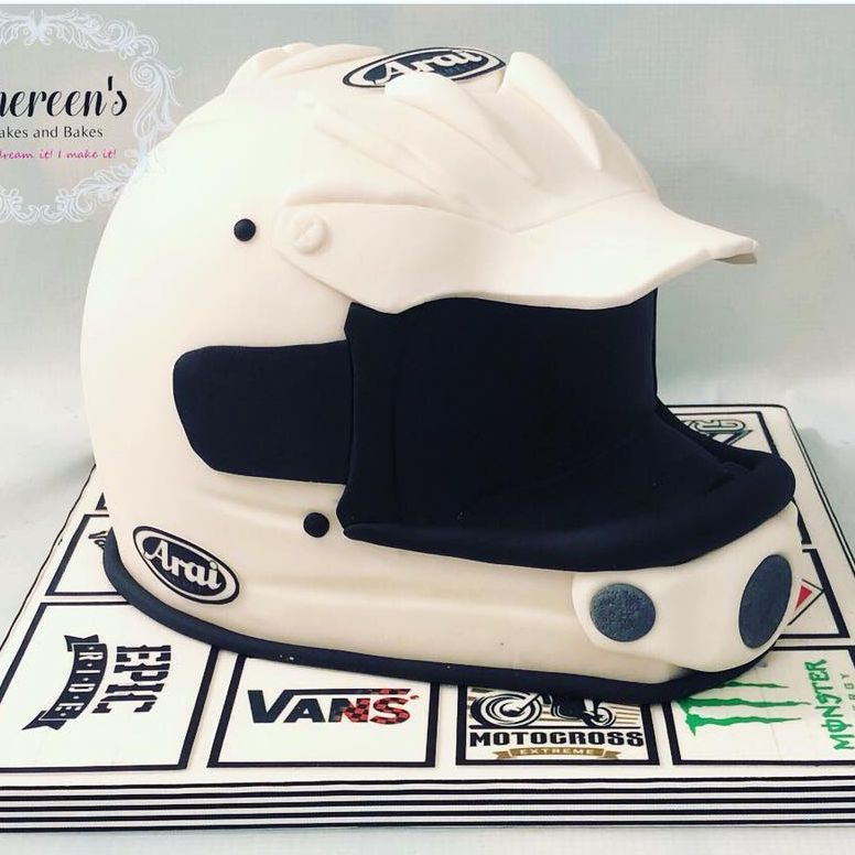 Birthday Cake Novelty motorcross motor cross helmet bike riding