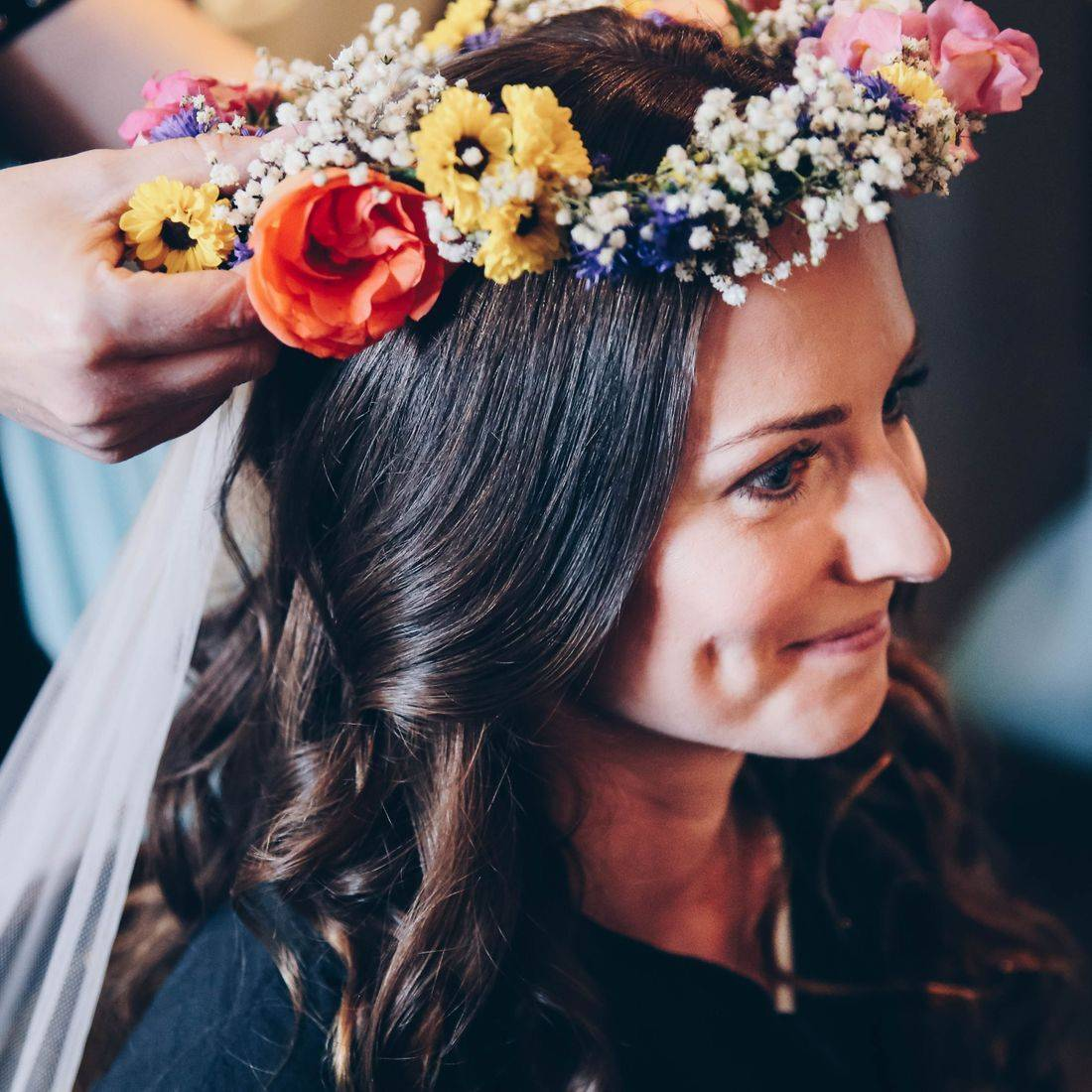 Flower Crown, Bridal Florist, Warwickshire Solihull Florist, Wedding Flowers