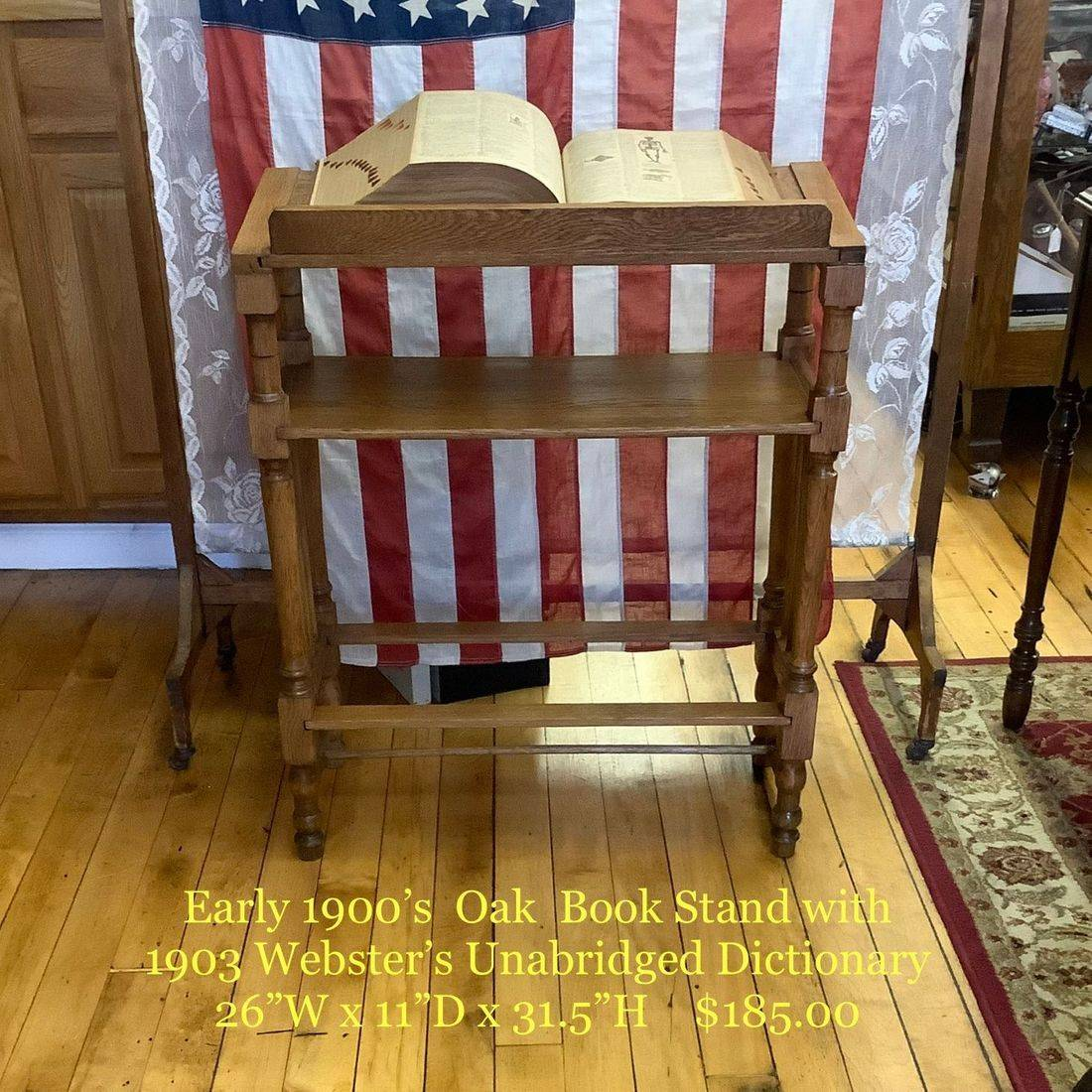 Early 1900's Oak Book Stand w/1903 Webster's Unabridged Dictionary   $185.00