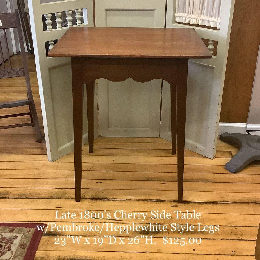 Late 1800's Cherry Side Table w/Pembroke/Hepplewhite Style Legs   $125.00