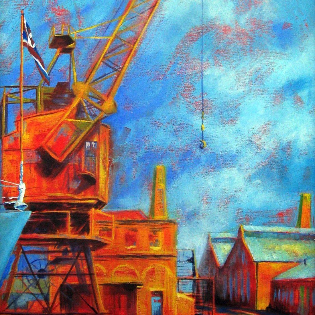 Acrylic painting dockyard Chatham by Sandra Louisa