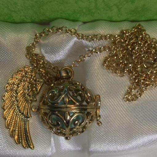 gold toned, pendant, locket, harmony ball, necklace, chain, charity, aqua, jingle, harmony, necklace