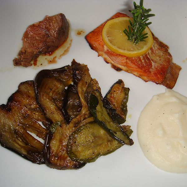grilled salmon and eggplant