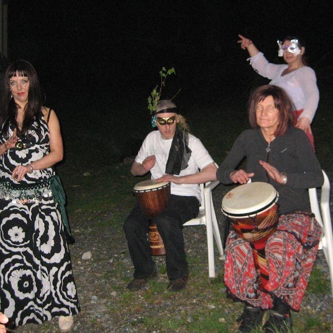 Earthmoves drum workshop trance masks sacred tour