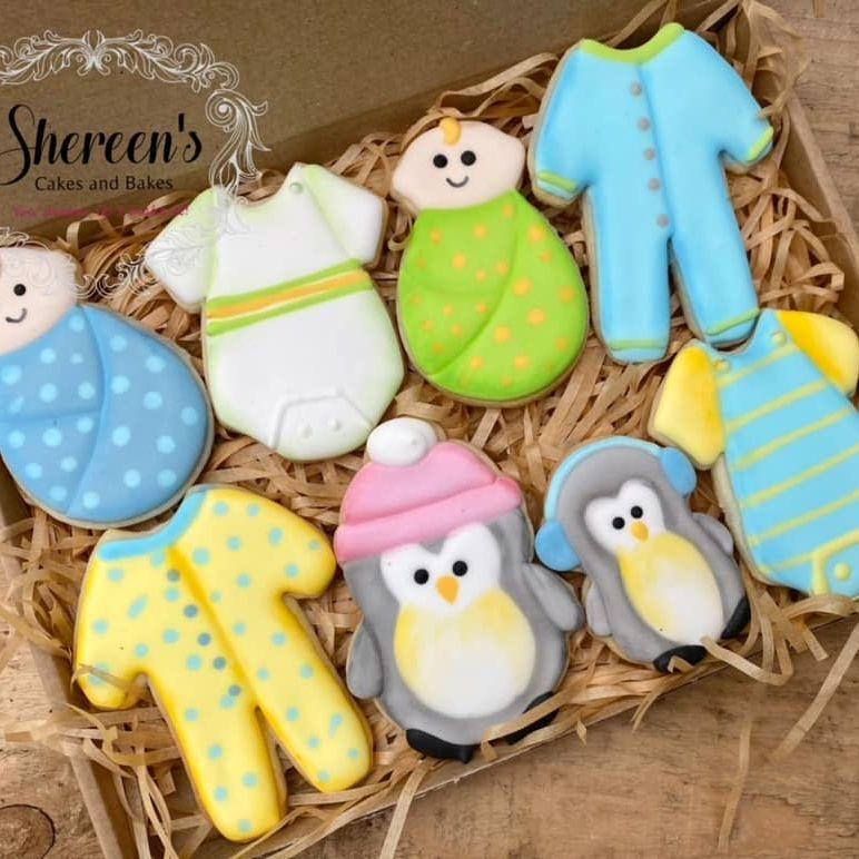 New Baby Penguin Cookies iced babygrow onesie baby vest