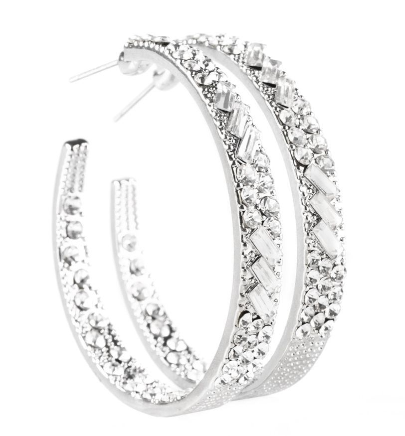 glitzy by association white earrings