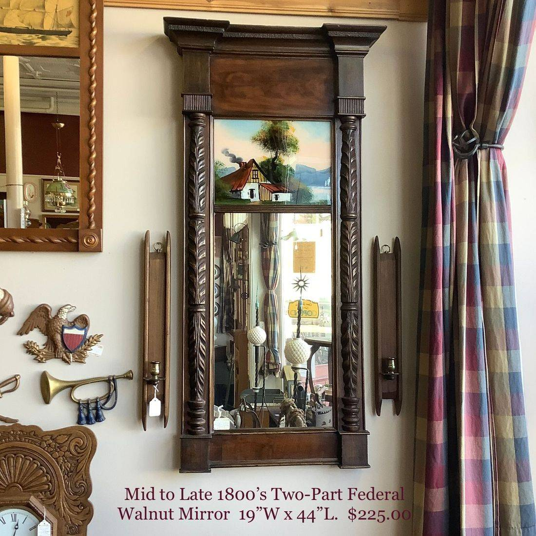 Mid to Late 1800's Two-Part  Federal Mirror