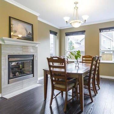 Dining room, interior design, open concept, hardwood, fireplace