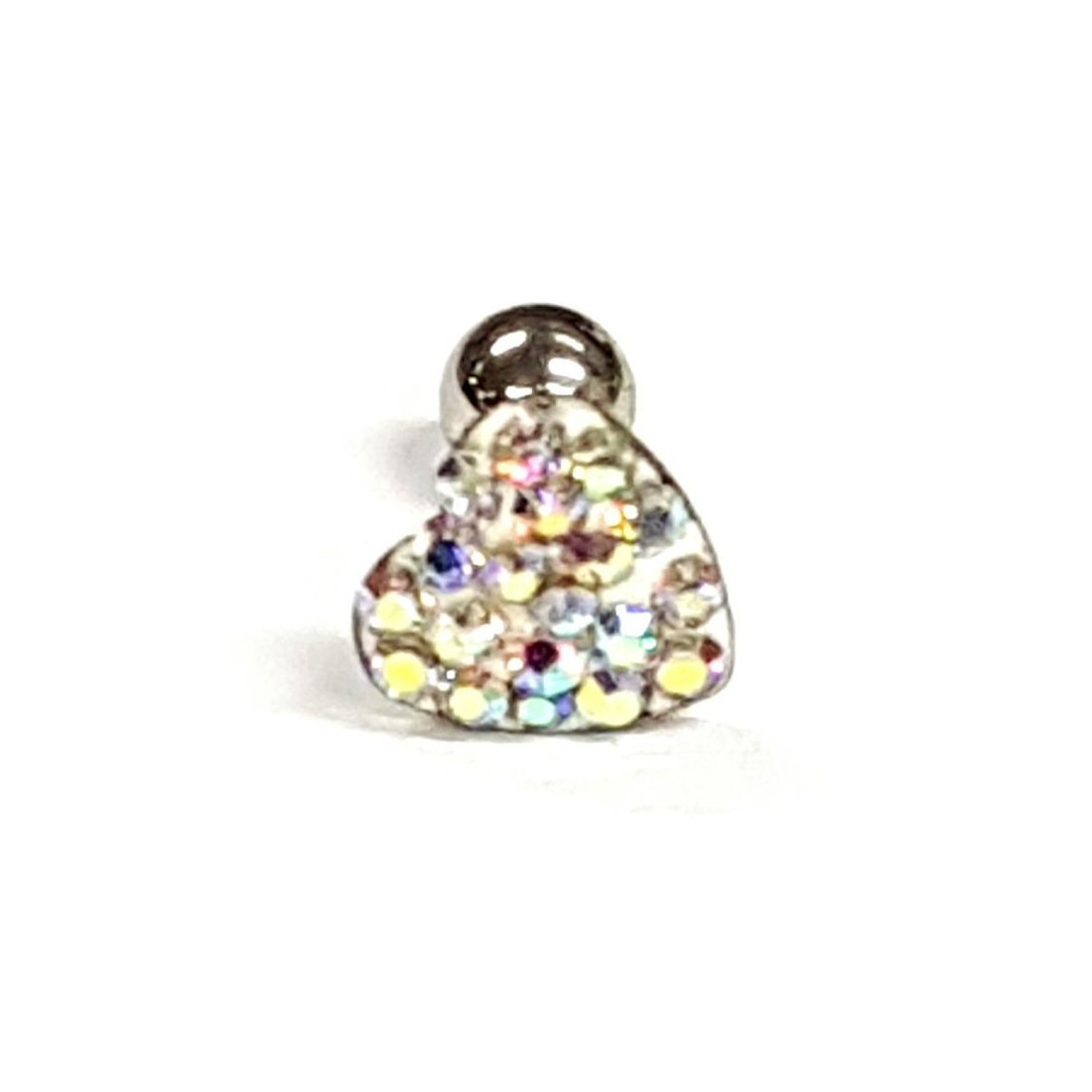 1.2mm x 6mm AB Crystal Heart Ball Back Bar    available at Kazbah online and our Leicester City Centre Shop
