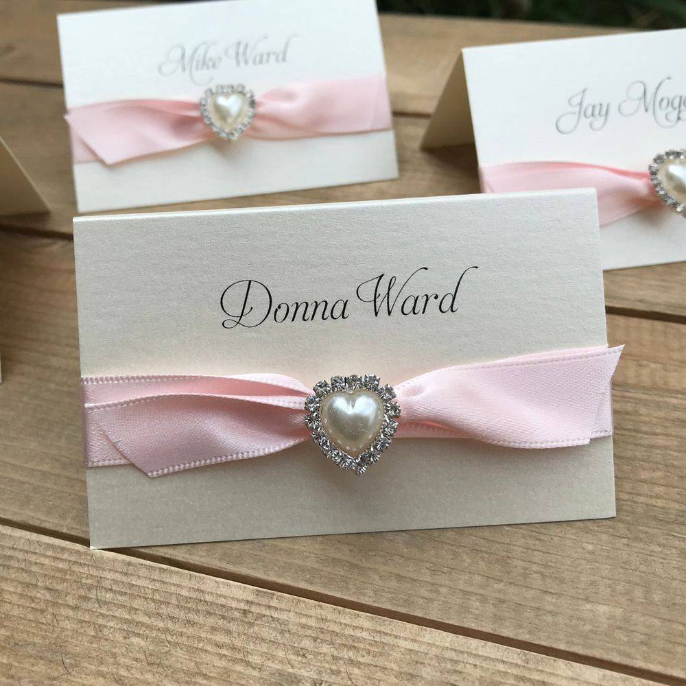 Wedding Place Name with pale pink ribbon, pearl and crystal heart cluster