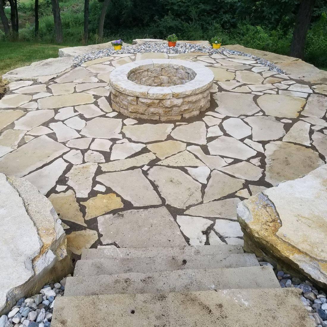Landscape, stone patio, lawn care, iowa