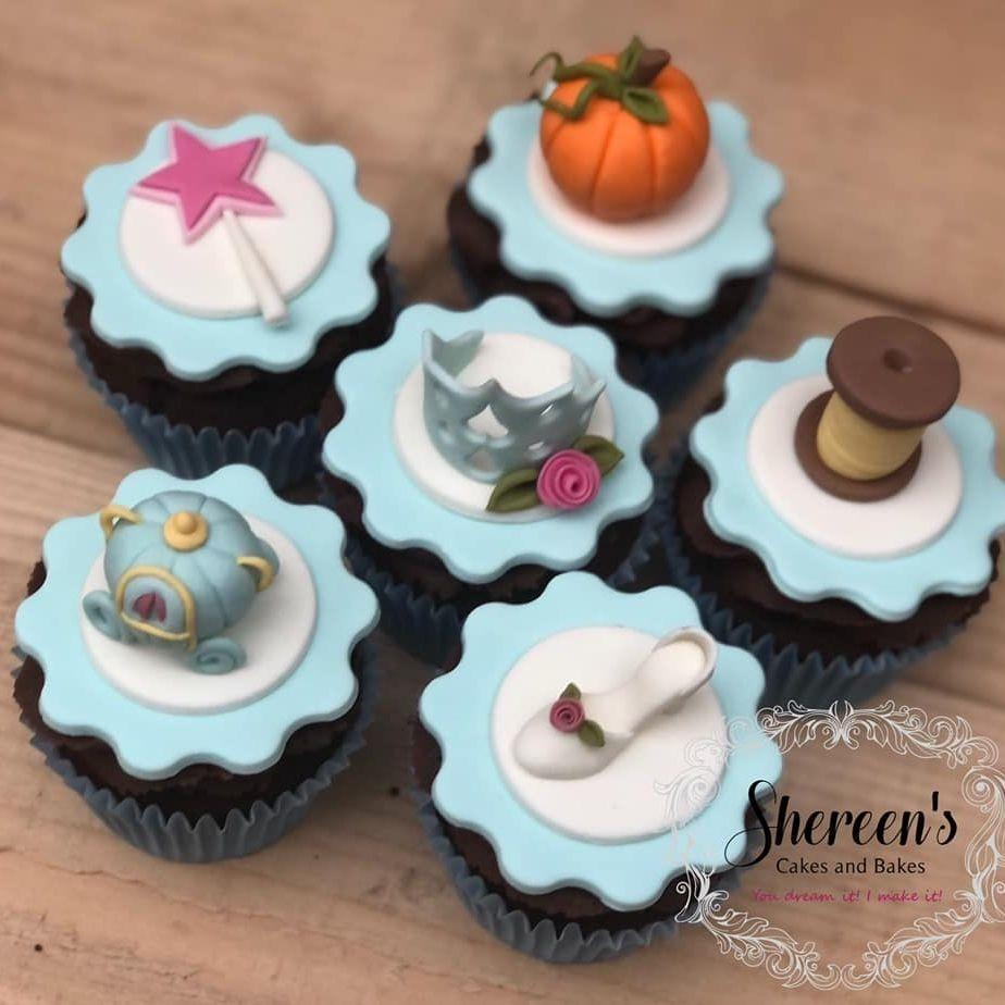 birthday cupcakes cinderella crown carriage pumpkin thread shoe slipper glass wand