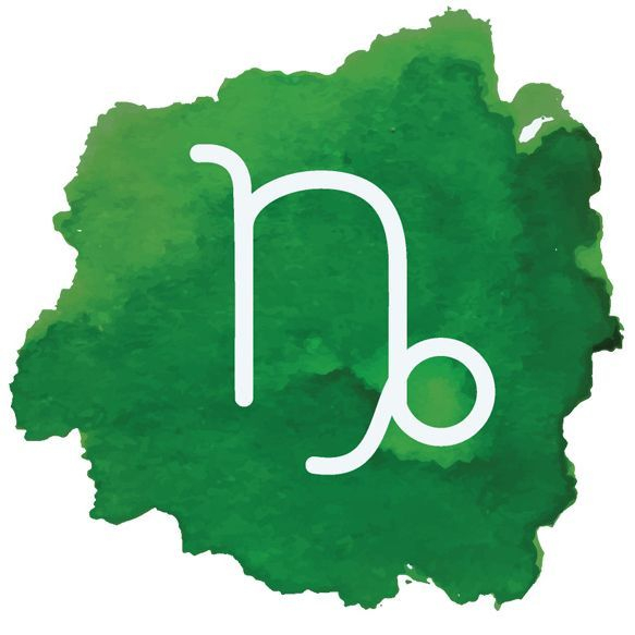 Image: watercolor Capricorn symbol