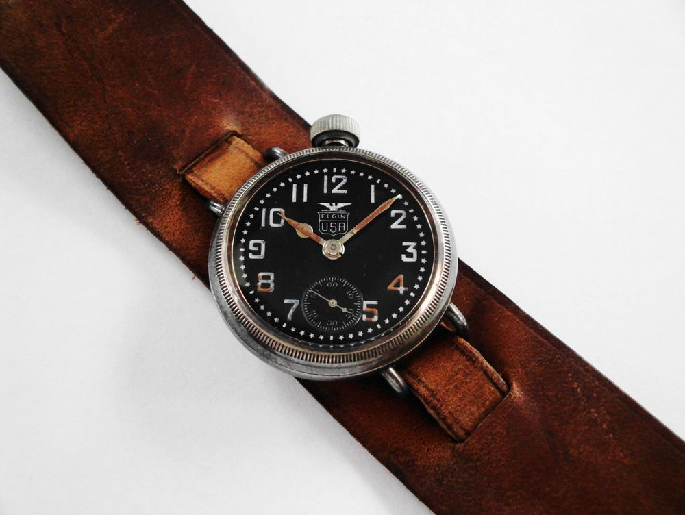 1918 WWI Offset Crown Elgin Black Star Dial Trench Watch
