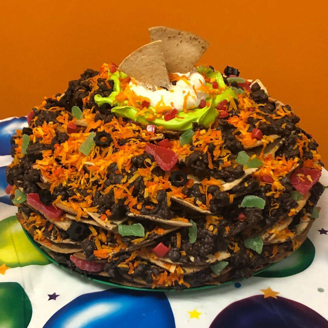 Nacho birthday cake
