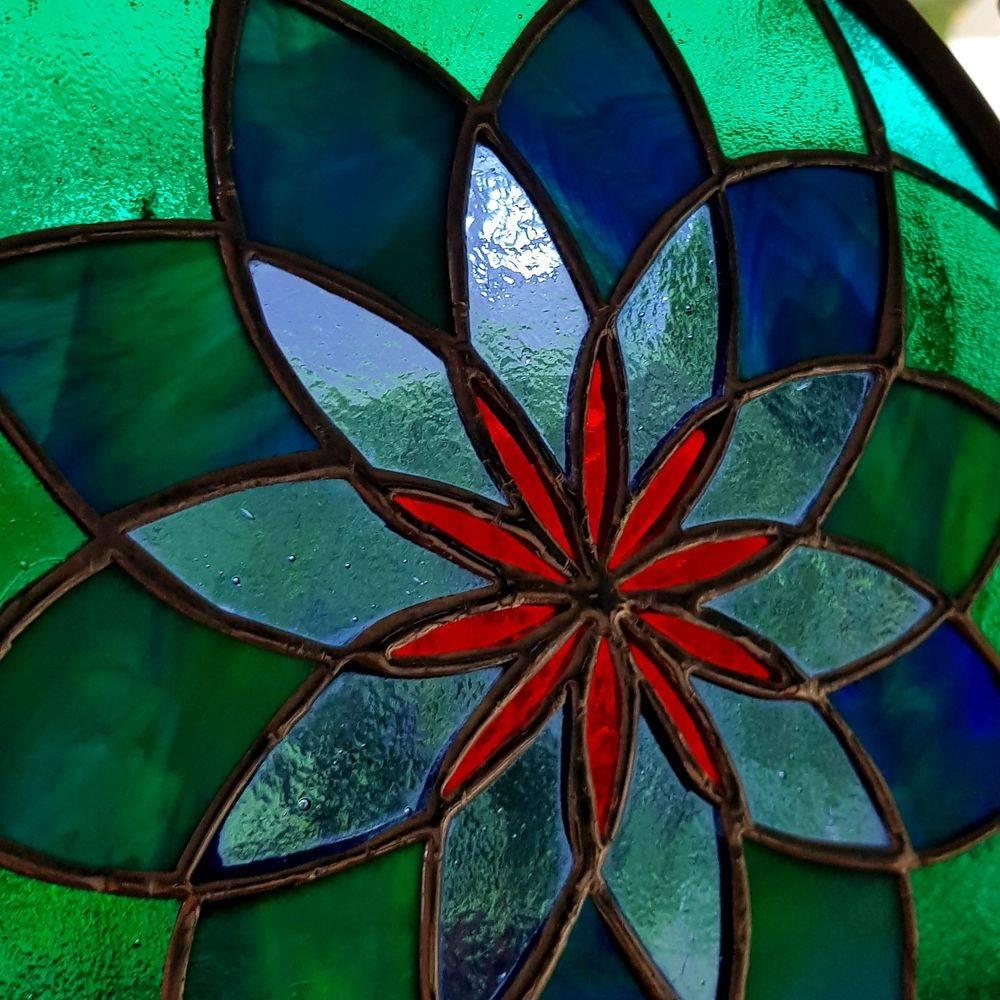 Geschenk, Sommer, Mandala, Glas, Kunsthandwerk, Fensterbild, Tiffany, Einzigartig, Unikat